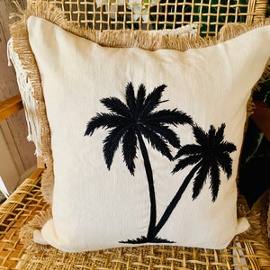 Coastal Twin Palm Tree Cushion Cover