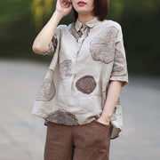 F&je New Summer Women Shirts Plus Size Short Sleeve Vintage Cotton Linen Blouses Paisley Print Loose Casual Shirt Lady Tops P12