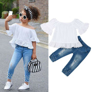 1-6Y Toddler Kids Baby Girls Clothes Sets White Tops T-shirt Denim Long Pants Jeans Outfits Set