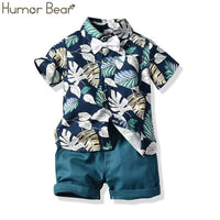Fashion Toddler Baby Kid Boy 2PCS Outifit Set Banana Leaf Print Short T-shirt+Short Solid Pants Gentelman Clothes Set