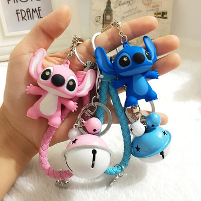 25 Styles New Arrival Cartoon Lilo and Stitch Keychain LED Stitch Key Ring Sound Flash Rope Bell Backpack Pandent Gifts
