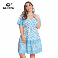 ROHOPO Short Sleeve Boho Women Floral Dress Sky Blue Tie Pleated High Waist Multiway Indian Casual Holiday Dresses
