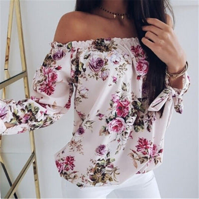 arrival Women Off Shoulder Tops Long Sleeve Floral Print Pullover Casual Blouse Hals Langarm Chiffon Summer Chiffon Blouse Lady