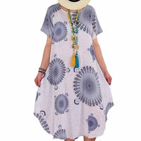 Women Plus Size Indian Floral Print Short Sleeve Round Neck Irregular Loose Dress