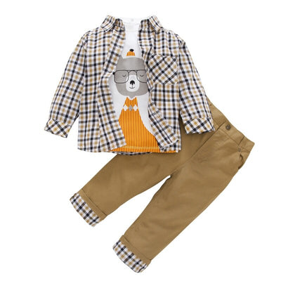 Kid Boys Clothes Summer Toddler Kids Plaid Coat+T-shirt+Pant 3Pcs Suit Children Boys Clothing Sets