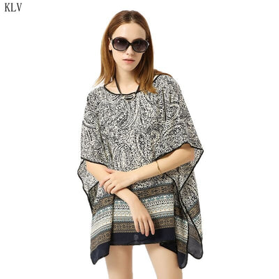 Womens Summer 3/4 Sleeves Swimsuit Cover Up Ethnic Paisley Stripes Printed Kimono Pullover Top Oversized Loose O-Neck Mini Dress