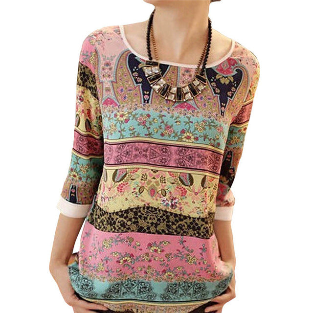 50 Summer Chiffon Blouse 2019 Fashion Aztec Stripe Women Blouses Lace Tops Floral Print O-neck Casual Shirt Blusas Camisas Mujer