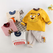 Autumn Winter Baby Cartoon Clothing Set Children T-shirt High Waist Pants Suit Girls Clothes Tracksuit Kids Tops Tees Trousers
