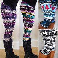 1pc Aztec Leggings Women Stretchy Knit Christmas Gift Snowflake Leggins Ankle Length Tribal Printed Casual Skinny Slim Legging