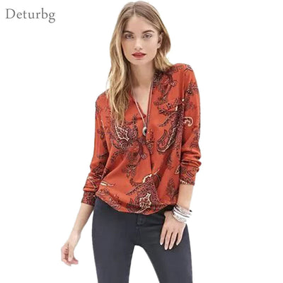 Womens Casual Paisley Print Blouse Female Front Cross Long Sleeve V Neck Cotton Asymmetrical Shirts Tops Blusas Br312