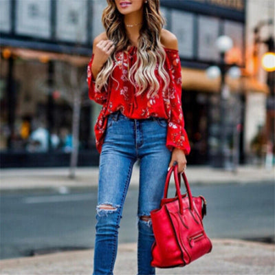 hirigin blouse Women's Off Shoulder flare Long sleeve red gorgeous flower Tops Shirt Casual Blouse Loose Crop female