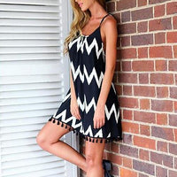 Women's Sexy Tassels Aztec Stripe Backless Strap Dress Beachwear