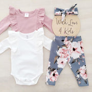 Newborn Kids Baby Girls Flower Top Romper Long Pants Headband Outfits Clothes Ruffles Outfits Set roupa infantil