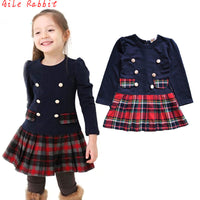 2018 3-7years Fall Winter Double Breasted Dress for Girls Children Baby Plaid Full Sleeve Dress School Dresses for Kid Girls