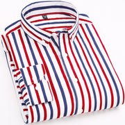 2019 Spring Fashion Striped Casual Mens Long Sleeved Shirts Fabric Soft Comfortable Men Dress Slim Fit Social Formal Shirts