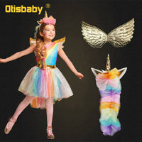 Girl Unicorn Dress Up Kids Flying Sleeve Rainbow Party Dancing Tutu Dress Wing Children Christmas Pageant Tulle Cosplay Costume