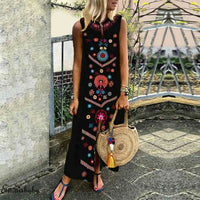 New Style Women Casual Loose Dress Mysterious Pattern Printed Ladies Cotton Casual Linen Indian Maxi Dress Plus Size