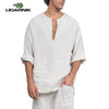 Men's Linen Loose Wide Sleeve Shirt Short Kurta Islamic Muslim Clothing Indian Ethnic Kangaroo Pocket Top Tee Shirt 903-B216