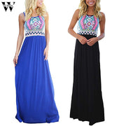 Womail summer dress 2019 Women Casual Sleeveless Sexy O-Neck  Aztec Print  Long Dresses party Holiday elegant Beach fashion M520