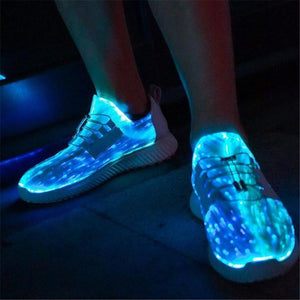 Couple models fiber-optic lighting leisure usb charging colorful flash sneakers