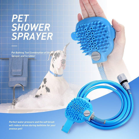 Pet Bathing Tool Combination of Shower Sprayer and Scrubber