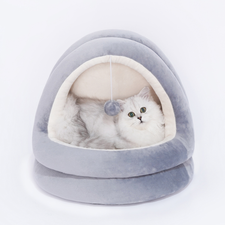 Pet Bed, Pet Bed Half Covered Slipper Shaped Bed Foldable Villa