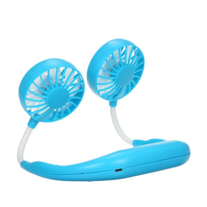 Outdoor Neck Band Double Wind Head Fan