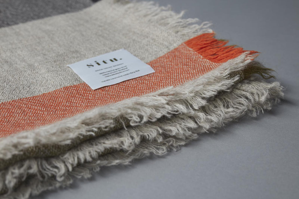 Woollen throw 100% New Zealand wool, made in New Zealand for www.situstudio.co.nz by designer Rosa Milne