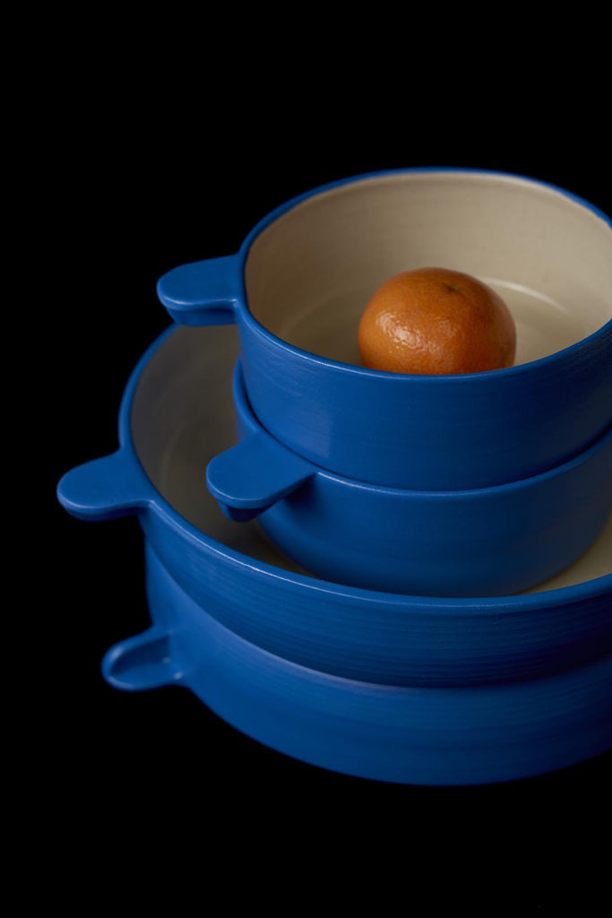Handmade blue pottery bowl, made in New York by Workaday Handmade for www.situstudio.co.nz