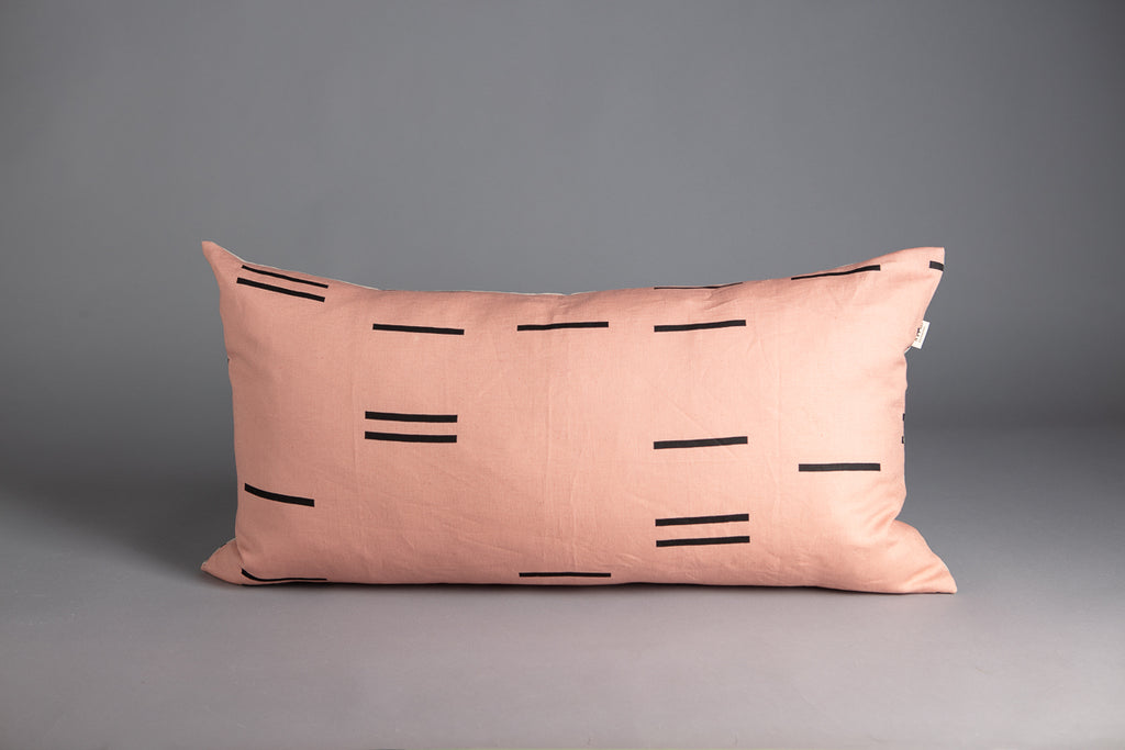 LONG CUSHION MODERN GEOMETRY BLUSH & BONE