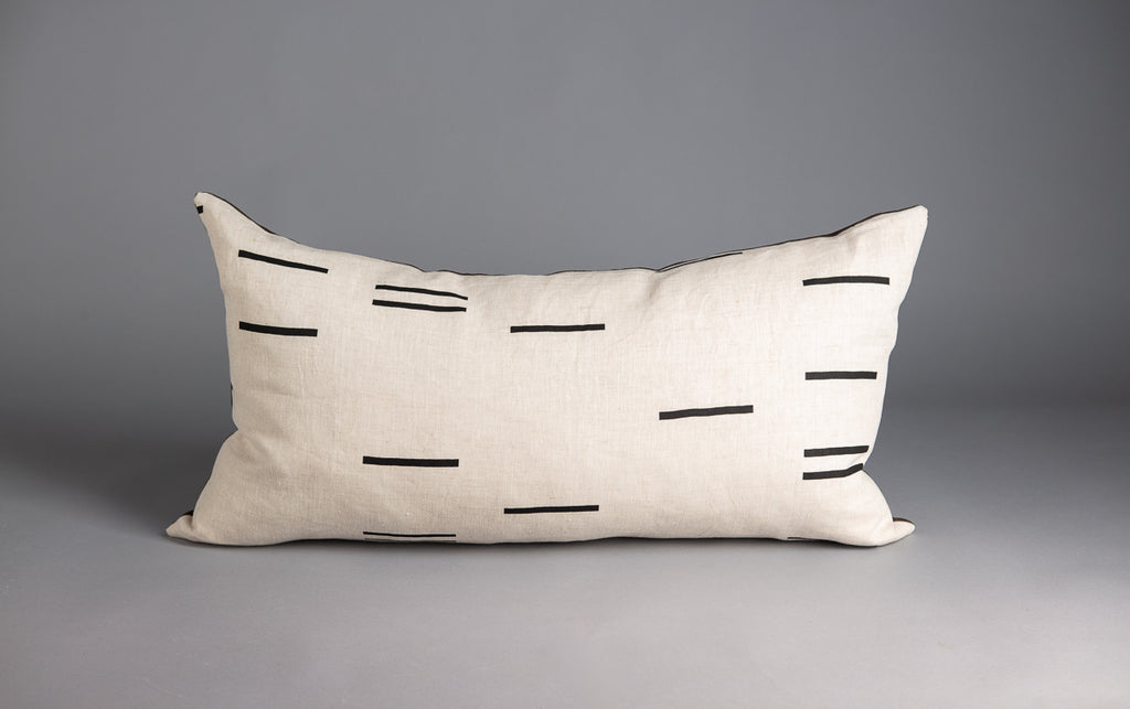 LONG CUSHION MODERN GEOMETRY NATURAL & OLIVE