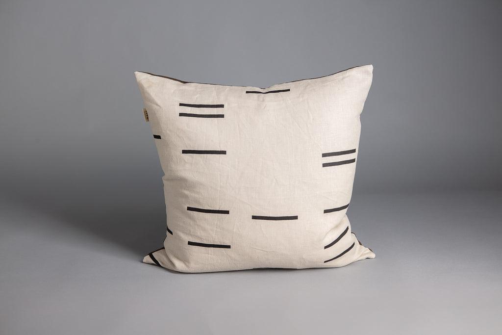 SQUARE CUSHION MODERN GEOMETRY BONE & OLIVE