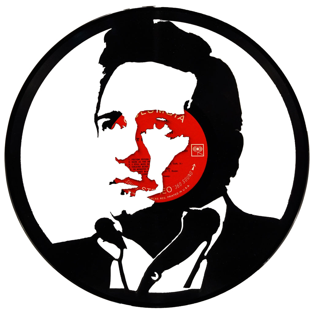 Johnny Cash Vinyl Record Art - Deadwax Art