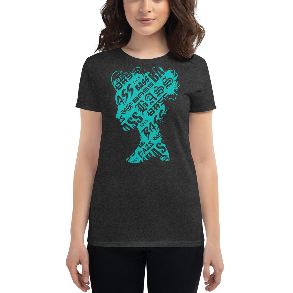 Bass Head Girl Ladies Cut Tee (Tiffany Blue)