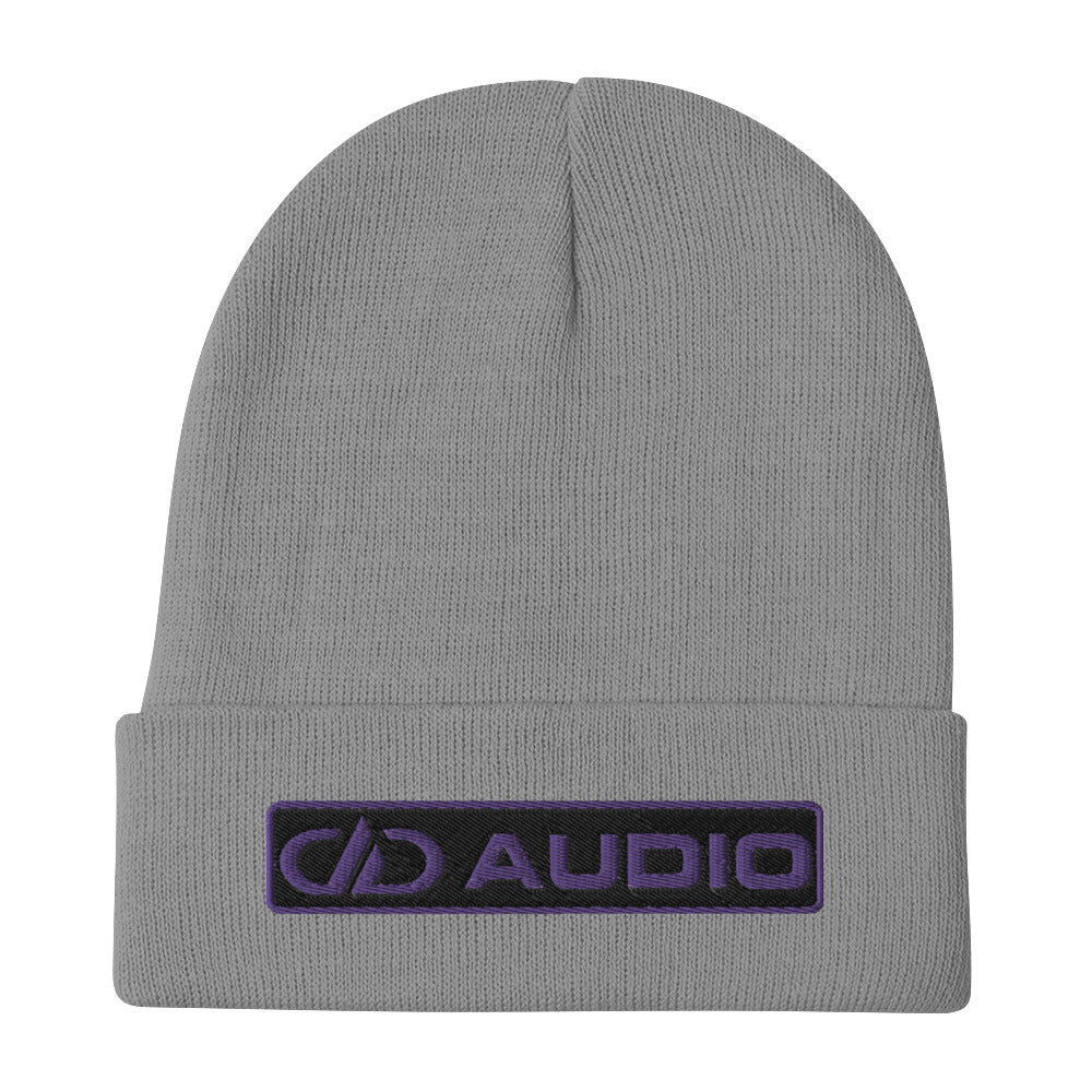 DD Audio Embroidered Cuffed Beanie (Grey/Purple)