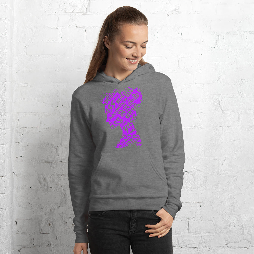 Bass Head Girl Unisex hoodie (Neon Purple)