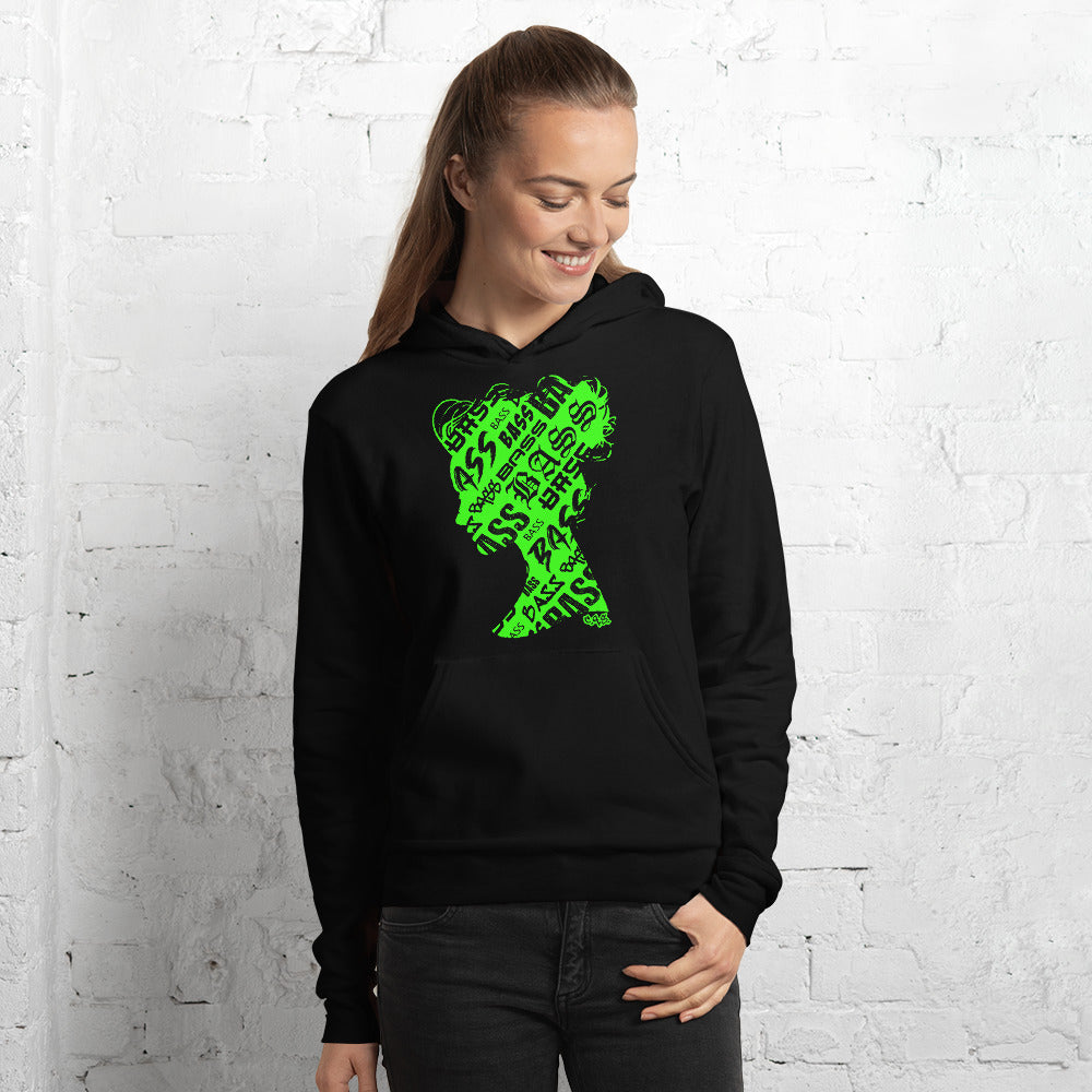Bass Head Girl Unisex hoodie (Neon Green)