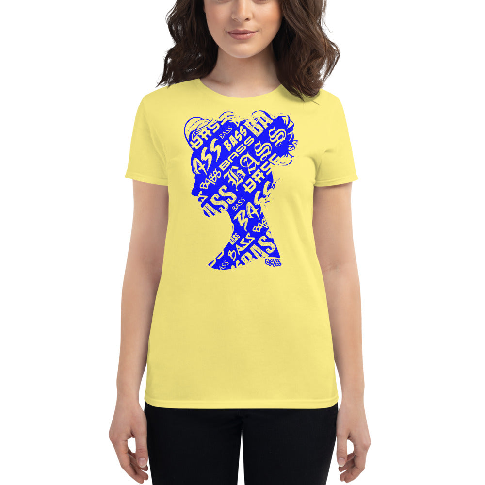 Bass Head Girl Ladies Cut Tee (Blue)