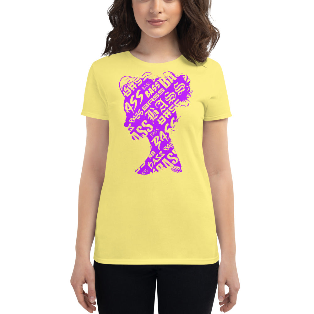 Bass Head Girl Ladies Cut Tee (Neon Purple)