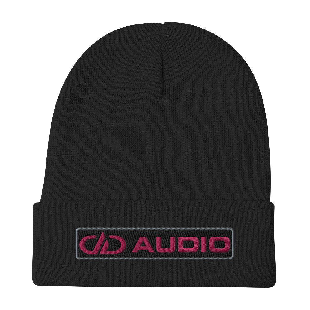 DD Audio Embroidered Cuffed Beanie (Black/Pink)