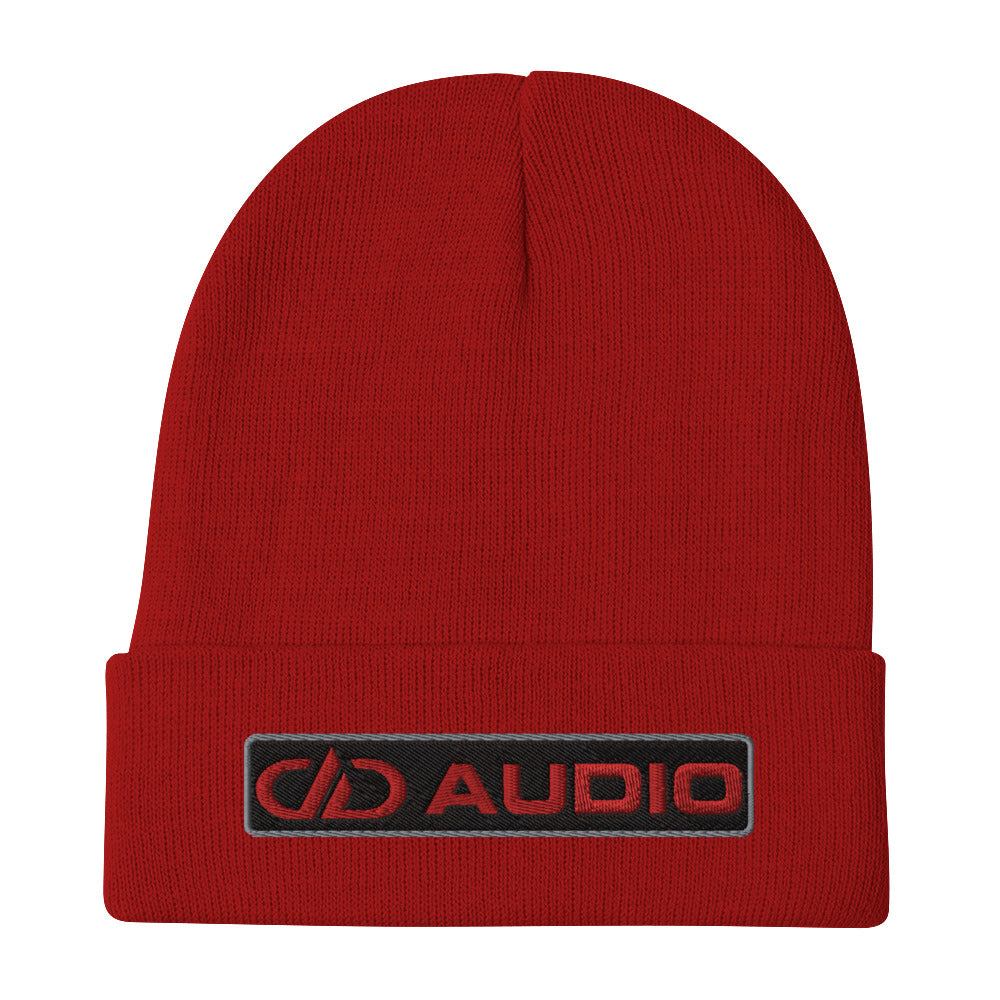 DD Audio Embroidered Cuffed Beanie (Red/Red)