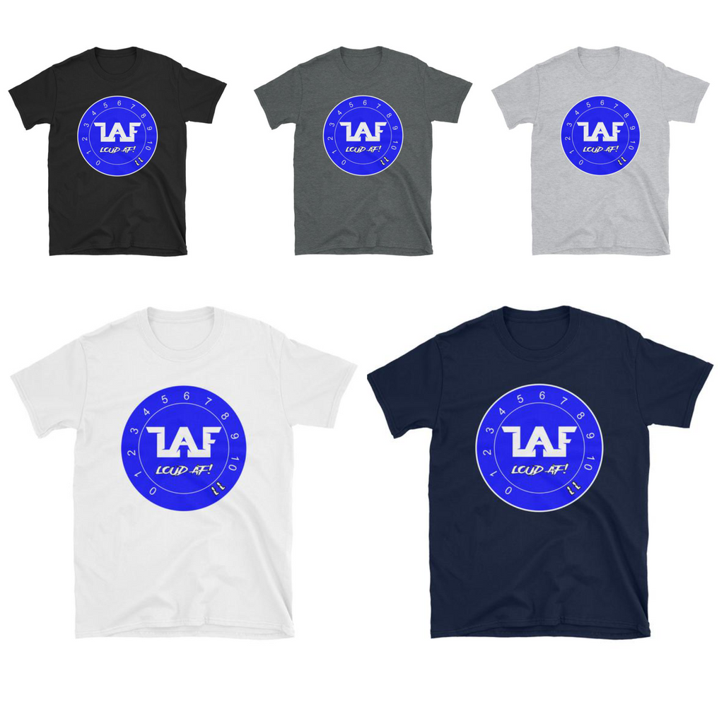 LAF - Lange Audio Fabrication Loud AF Blue Logo T-Shirt