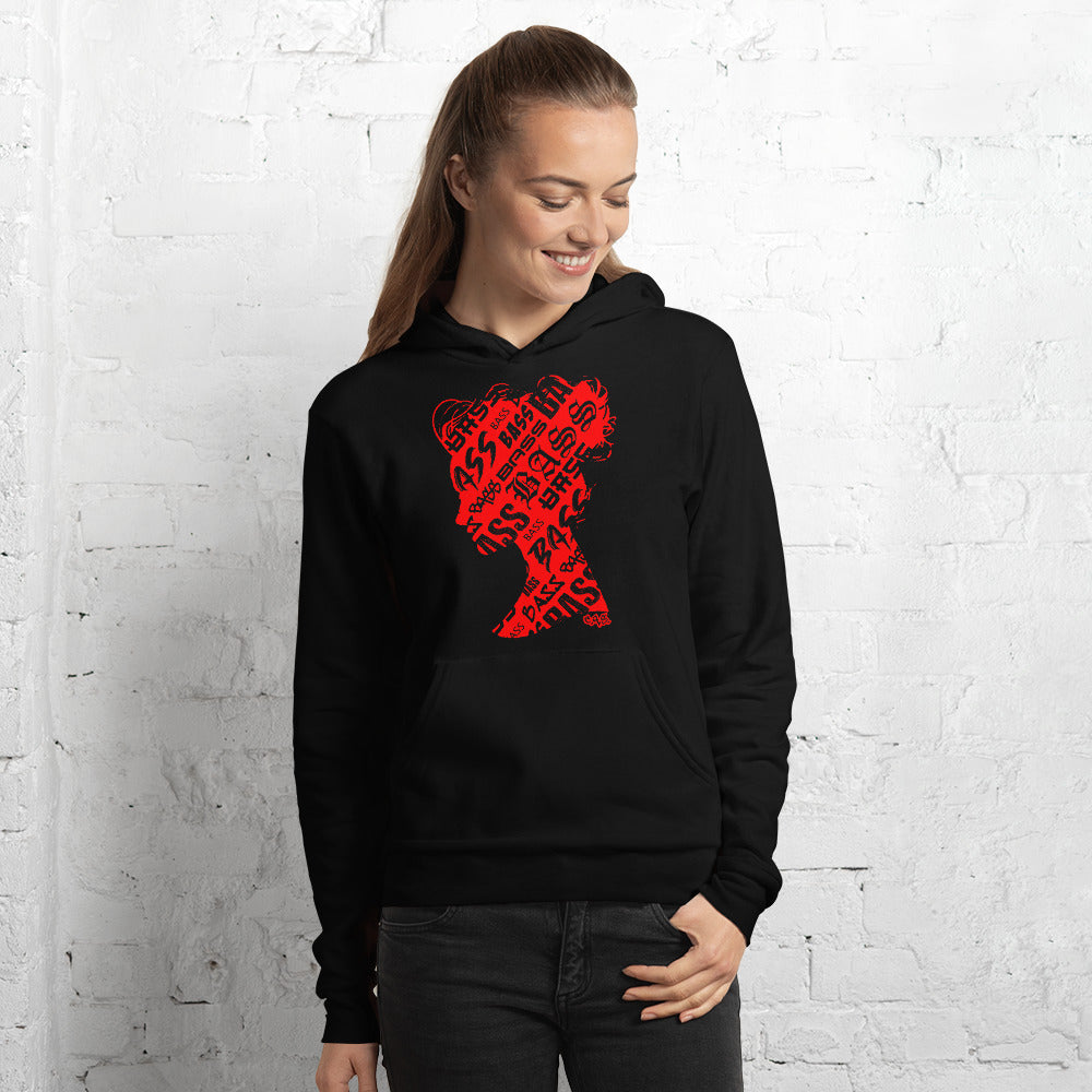 Bass Head Girl  Unisex hoodie (Red)