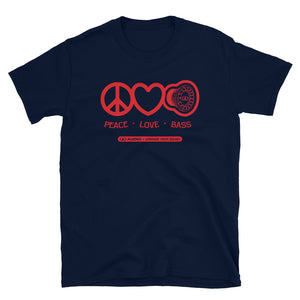 DD Audio -Peace Love Bass 2 (Red Logo) T-Shirt
