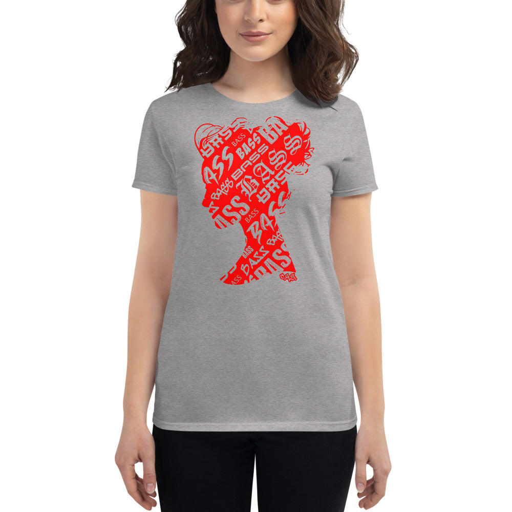 Bass Head Girl Ladies Cut Tee (Red)