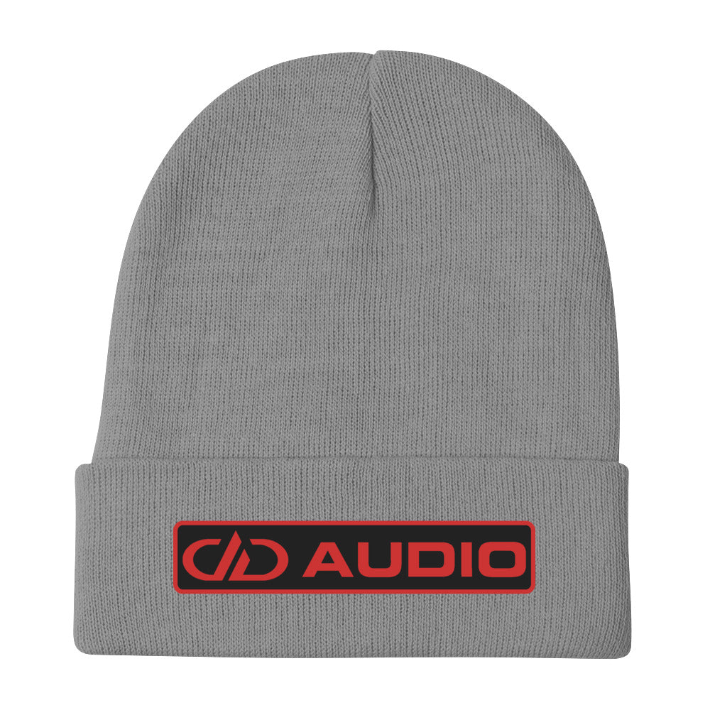 DD Audio Embroidered Cuffed Beanie (Grey/Red)
