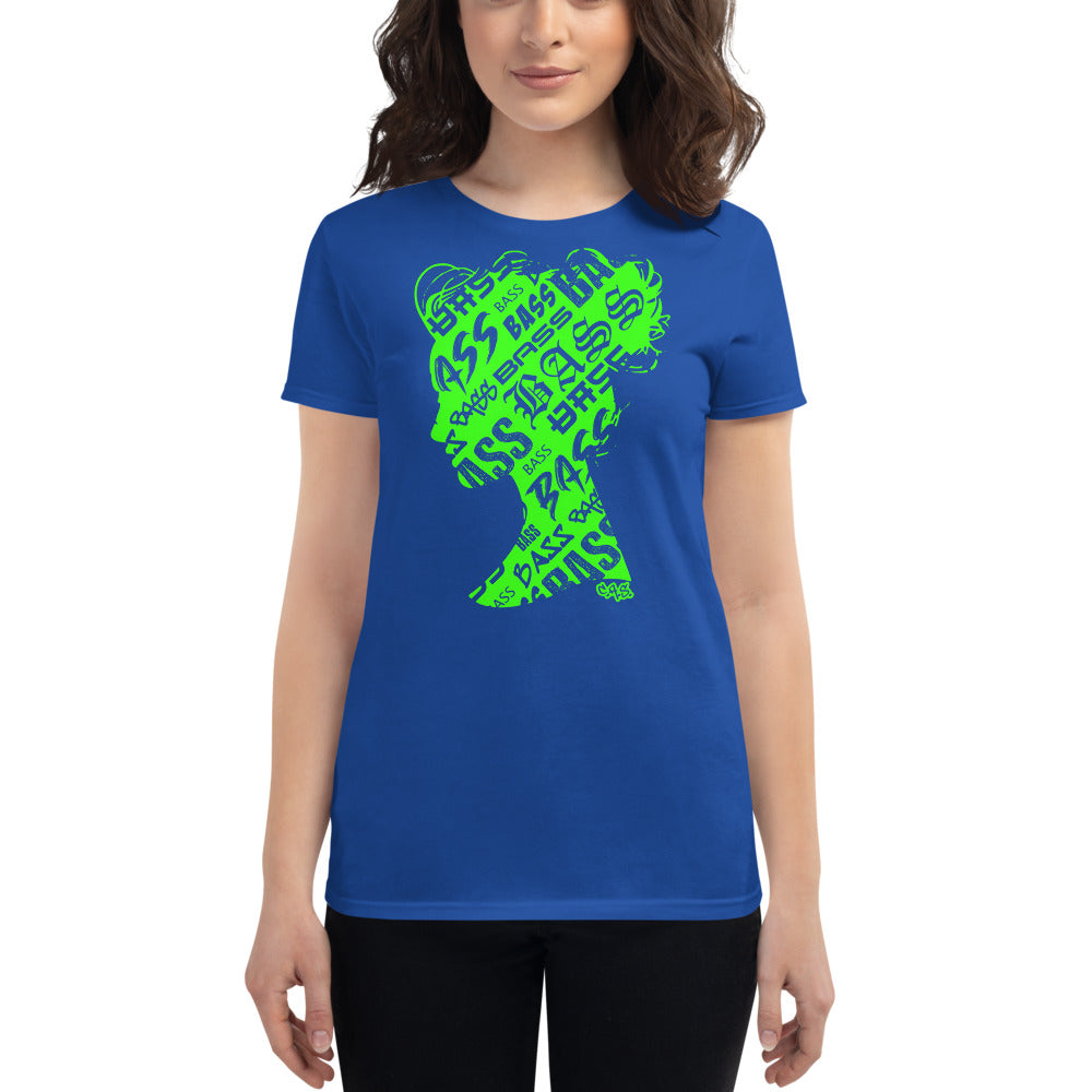 Bass Head Girl Ladies Cut Tee (Neon Green)