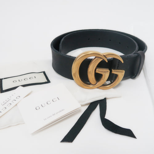 [SOLD OUT] - GUCCI - Black Gold GG Toscano Belt Size 75
