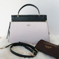 [SOLD OUT] - Kate Spade Black Soft White Shaw Street Kegan Limited Satchel Bag
