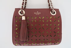 Kate Spade Brown Flowers Cutout Leather Gold Strap Square Shoulder Bag